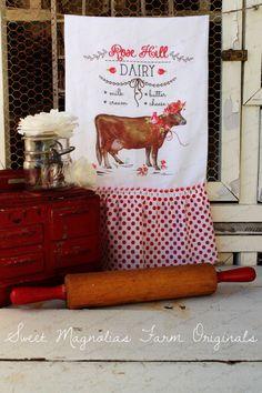 Valentine Flour Sack Kitchen Towel ...Rose Hill Dairy....by SweetMagnoliasFarm
