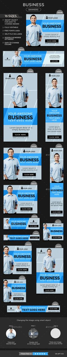 Buy Business Banners by Hyov on GraphicRiver. Promote your Products and services with this great looking Banner Set. 16 awesome quality banner template PSD files r. Ad Layout, Display Ads, Banner Template, Web Design Inspiration, Ad Design, Banner Design, Online Marketing, Web Banners, Google Ads