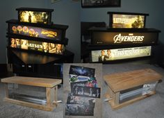 Mylar Light Box. Materials: Wood sized to your desire, LED light strips (you can get these at Menards), Foil tape, Plexiglass, Glue/Nails, Mylars. Make sure to leave a good sized groove to add and replace mylars!  Perfect for any man cave/home theatre!  Credited to Eric Becker