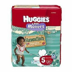 Huggies Little Movers Hawaiian Diapers, Jumbo Pack, Size 5, 27 lbs, 21 ea, by Kimberly Clark Corp. $11.99. Huggies® Little Movers Diapers are uniquely shaped to fit babies on the go.  They have a contoured shape to help the diaper fit better during active play.  They re also made with flexible materials to help the diaper stay in place no matter where your little one goes.  Uniquely shaped to fit for ultimate comfort  ...