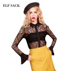 ELF SACK 2017 Spring Sexy Lace Blouse Women Vintage Black Lace Shirts Retro Chiffon Ladies OL Style Blouses Fashion Brand