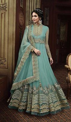 e9309d6715 Sea Blue Color Net Eid Special Pakitani Salwar Kameez #salwarkameez # pakistani #eidcollection #. heenastyle.com