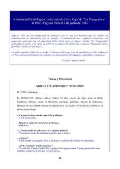 """Temas y Personajes Augusto Vels, grafología y «proyección» [""""La Vanguardia"""", martes 2 de junio de 1981, pag. 35, sección """"Barcelona"""", apartado """"Temas y Personajes""""].  REFERENCIA BIBLIOGRÁFICA  VIÑALS, F. y PUENTE, ML. (Coord)(2015): REVISTA ICG Nº 16, ESPECIAL LA MERCÈ, Barcelona, 1ª Parte, Edita Instituto de Ciencias del Grafismo, 24 SEPTIEMBRE 2015 Recurso electrónico: http://www.grafoanalisis.com/ICG-15-Merce-1part.pdf"""