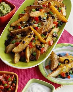 Potatoes instead of chips in nachos. Yum. Can't wait to try this recipe for Cinco de Mayo!