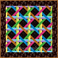 (7) Name: 'Quilting : Woven Ribbons Paper Pieced Quilt Block