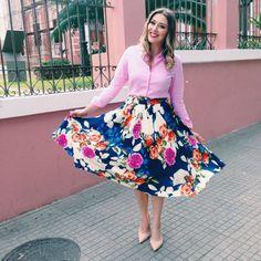 saia midi floral_ camisa dudalina rosa