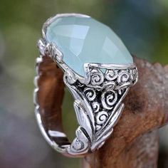 UNICEF Market | Etched Silver with Aqua Chalcedony Gemstone Ring - Sky Valkyrie