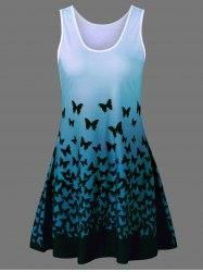 #Gamiss - #Gamiss Plus Size Butterfly Print Ombre Tank Dress - AdoreWe.com