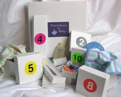 countdown boxes for Ev to countdown for Cecily's due date. Put a small toy in each box like an advent calendar.