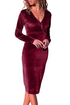 Burgundy Long Sleeve V Neck Sleek Velvet Midi Dress Burgundy Midi Dress, Velvet Midi Dress, Black Midi Dress, Velvet Dresses, Pullover Designs, Midi Cocktail Dress, Discount Designer Clothes, Casual Dresses, Midi Dresses