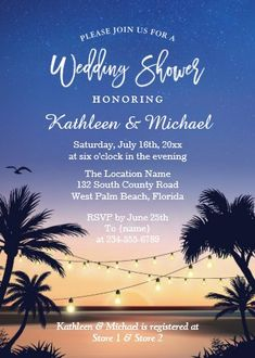 """Palm Beach Sunset String Lights Wedding Shower Invitation. Size: 5"""" x 7"""" Make custom invitations and announcements for every special occasion! Choose from twelve unique paper types, two printing options and six shape options to design a card that's perfect for you. Size: 5"""" x 7"""" (portrait) or 7"""" x 5"""" (landscape) Standard white envelope included Add photos and text to both sides of this flat card at no extra charge Use the """"Customize it!"""" CLICK IMAGE FOR MORE DETAILS. Couples Wedding Shower Invitations, Custom Invitations, Colored Envelopes, White Envelopes, I Do Bbq, Envelope Liners, String Lights, Palm Beach, Rsvp"""