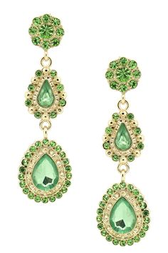 Crystal Green Dangle Earrings <3  ... ah, but when/where would I wear them??
