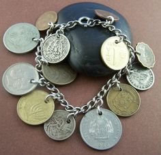 Gypsy - Circulated World Coin Sterling Silver Charm Bracelet.