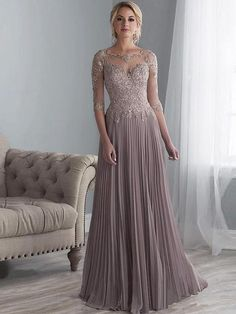 c380e736e Long Applique Mother of the Bride Dress with sleeves #motherofthebridedress  #angrila #elegant Mother