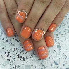 Clear line orange nails