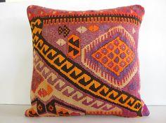 "24"" ethnic cushion decorative pillow handmade throw pillow cover wool kilim pillow sofa design pillow pastel pillow coral purple pink yellow..."