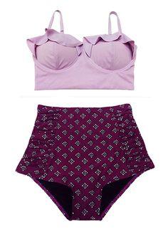 Lavender Violet Midkini Top and Burgundy Shorts por venderstore