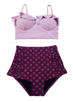 Lavender Mikdini Top and Burgundy Ruched High Waisted Waist Retro Bottom Swimsuit Bikini Two piece 2pc Swim suit wear Swimwear Beachwear S M