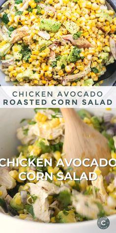 Chicken Avocado Roasted Corn Salad This Chicken Avocado Corn Salad is the answer to your sick-of-ordinary-salads prayers. Chock full of tasty chicken, sweet corn, creamy avoca Roasted Corn Salad, Corn Avocado Salad, Corn Salads, Chicken Avocado Salad, Avocado Chicken Recipes, Roasted Avocado, Grilled Corn Salad, Mexican Street Corn Salad, Avocado
