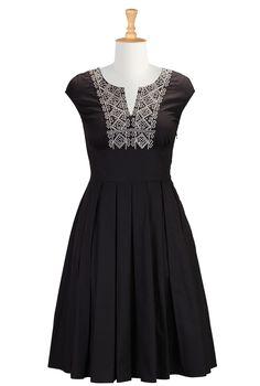 Embroidered Bib Dresses, Cotton Poplin Dresses For Fall Women's designer clothing, Designer dresses, American Fashion | eShakti.com