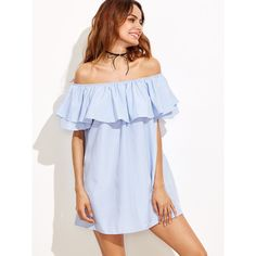 Blue Striped Off The Shoulder Ruffle Dress (€13) ❤ liked on Polyvore featuring dresses, blue, striped off the shoulder dress, ruffled-sleeve dresses, flutter sleeve dress, short sleeve shift dress and short sleeve dress