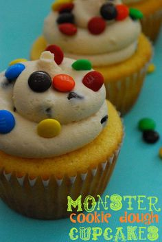 Monster Cookie Dough Cupcakes with Monster Cookie Dough Frosting.