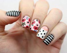 Packapunchpolish floral mix match nail art my simple cute gel nails Beautiful Nail Designs, Cute Nail Designs, Beautiful Nail Art, Cute Nail Art, Easy Nail Art, Cute Nails, Mix Match Nails, Floral Nail Art, Nail Designs Spring