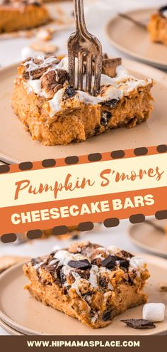 """""""Pumpkin spice and everything nice"""" are literally in this pumpkin s'mores cheesecake bars recipe! Delicious, creamy and light pumpkin cheesecake bars topped with all your favorite s'mores ingredients - a must-try this fall season! Pumpkin Cheesecake Bars, Pumpkin Pie Bars, Pumpkin Pie Recipes, Pumpkin Dessert, Pumpkin Spice, Fall Recipes, Fall Desserts, Great Desserts, Delicious Desserts"""