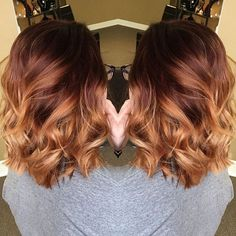 { Red copper winter balayage }