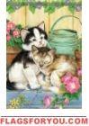 Garden Kittens Garden Flag Yard Flags, Cat Garden, Kittens, Cats, House Flags, Painting, Decor, Cute Kittens, Gatos