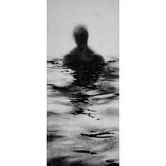 Haunting Figure Drawing Gothic Moody Dark Shadow Crayon Wading Water... ($90) ❤ liked on Polyvore