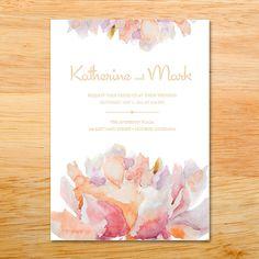 Wedding Invitation - Floral, Flowers, Watercolor, Painted, Peony, Pinks, purples. $22.00, via Etsy.