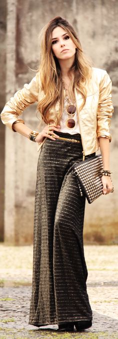 long casual striped skirt, shirt, leather jacket