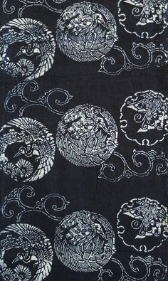 A Length of Indigo Dyed Katazome Cotton: Crane, Tortoise and Butterfly, early 19thc // Sri