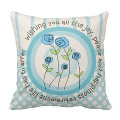 Artsy Retirement Pillow Whimsical Flowers
