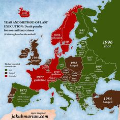 The Death Penalty - Year and Method of Last Execution in European Countries - colouring based on method
