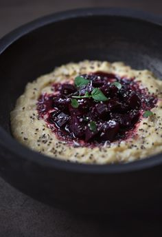 Balsamic and Honey Roasted Beets with Millet Polenta {Vegetarian}