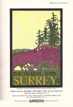 "Advert for Dalziel Foundry/Lorilleux & Bolton showing ""The Heaths, Surrey, No. 178"" poster by Edward McKnight Kauffer for London Transport, 1923 by mikeyashworth, via Flickr"