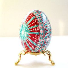 Turquoise and red pysanka Ukrainian Easter by UkrainianEasterEggs