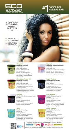 Styling gels for natural hair