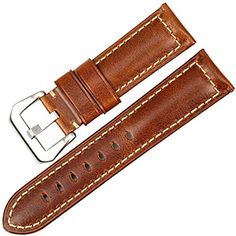84b9703cb42 MAIKES Genuine Leather Watchband Brown Watch Band Watch Strap Oil Wax Leather  Watch band Watch Accessories