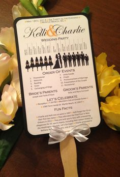 fun wedding program templates | wedding party silhouettes on this fan program! Get the free template ...