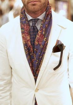 Cream Linen Jacket, and Paisley Silk Scarf. Men's Spring Summer Street Style Fashion.