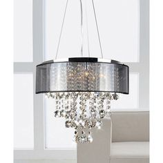New Crystal Chandelier 9 Light Chrome and Black Shade Elegant Contemporary Style #Contemporary