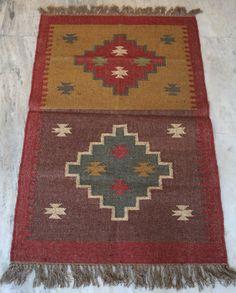 Wool Jute Kilim Rug Carpet Rug Dhurrie Throw Rug Floor Rug Free Shpping USA #Turkish