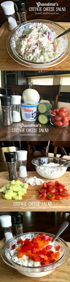 GRANDMA'S COTTAGE CHEESE SALAD – Light & refreshing, healthy too! A childhood favorite that I still enjoy today as an adult, especially on hot summer days. So versatile with lots of options for this awesome salad! Keto Recipes, Cooking Recipes, Healthy Recipes, Cottage Cheese Salad, Eat Better, Yummy Food, Tasty, Macaron, Summer Salads