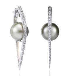 Cutting Edge Pearl and Diamond Earrings. Tahitian pearls and diamonds in white gold