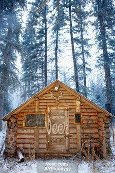 Hunting Cabin, Alberta Stock Photo