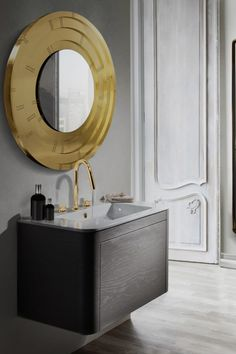 Blaze Mirror is a fiercely burning fire capable of accentuating any wall and stun you at every look. It features a round mirror made entirely from polished brass and designed with concentric circles. Bathroom Mirror Design, Modern Master Bathroom, Bathroom Vanity Cabinets, Bathroom Trends, Modern Bathroom Design, Bathroom Furniture, Inspiration Wall, Bathroom Inspiration, Rectangular Vessel Sink