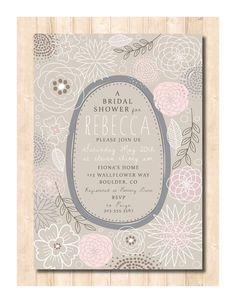"""Wallflower"" Whimsical Wedding Shower Invite"
